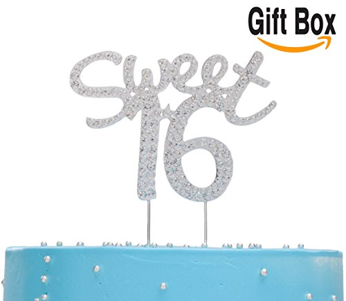 LOVENJOY - Gift Box - Sweet 16 Cake Topper Rhinestone Decoration Silver (4.7-inch) Sparkly Sweet Sparkle