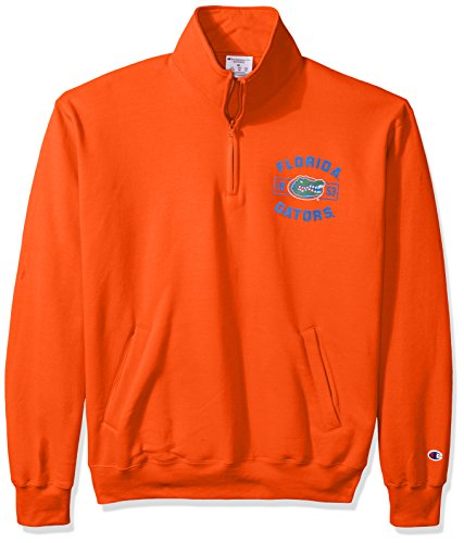 Champion NCAA Florida Gators Men's Power Blend Fleece Quarter-Zip Jacket, Large, Orange