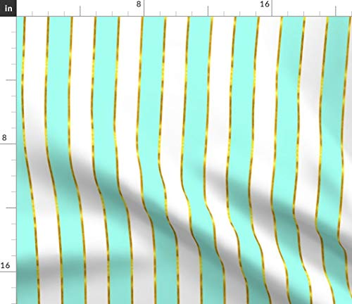 Blue and Gold Stripe Fabric - Stripe Gold Gilded Mint White Kids Geometric Print on Fabric by The Yard - Sport Lycra for Swimwear Performance Leggings Apparel Fashion