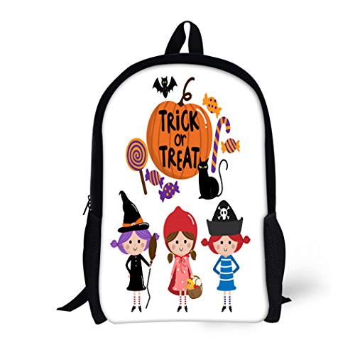 Pinbeam Backpack Travel Daypack Red Party Halloween Trick Treat Kids Autumn Candy Waterproof School Bag ()
