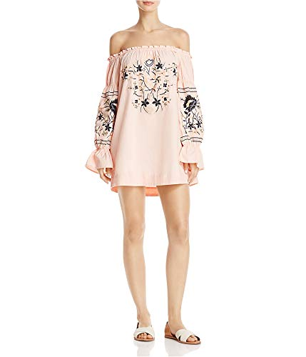 Free People Womens Fleur DU Jour Embroidered Bell Sleeves Mini Dress Pink M from Free People