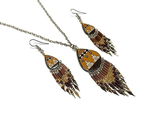 Mia Jewel Shop Large Tribal Ceramic Teardrop Long Beaded Dangle Silver Chain Necklace and Earrings Jewelry Set (Tan/Brown/Beige)