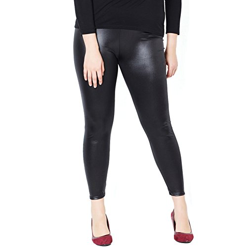 Just For Plus Fashion Women's Faux Leather Pants Legging Plus Size High Waist Full Length, XXL -