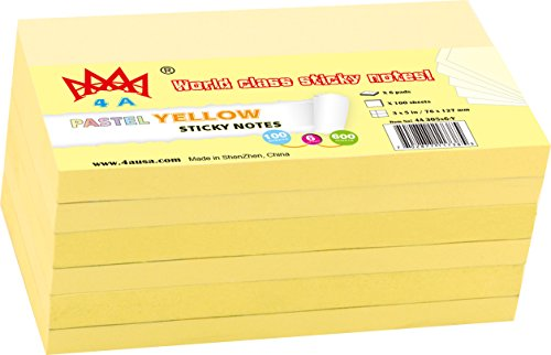 4A Sticky Notes,3 x 5 Inches,Canary Yellow,Self-Stick Notes,100 Sheets/Pad,6 Pads/Pack,4A 305x6-Y
