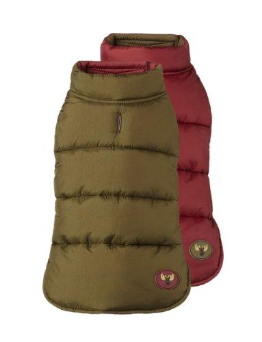 Fab Dog Reversible Puffer Vest Dog Jacket, Moose Olive/Burgundy, 14