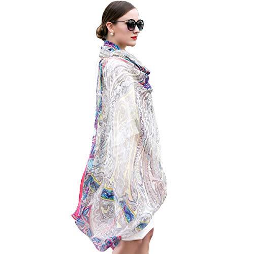 (DANA XU 100% Pure Silk Large Size Pashmina Women Scarf (White) )