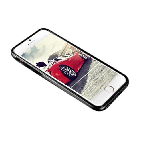 E8Q lujo metal de parachoques duro de nuevo caso de cuero protector de la cubierta para Iphone 6 Plus Oro