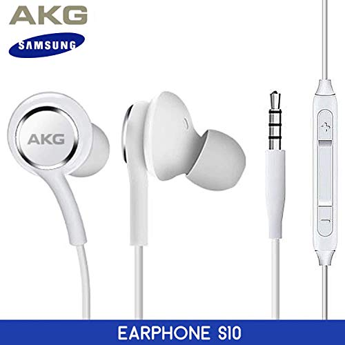OEM ElloGear Earbuds Stereo Headphones for Samsung Galaxy S10 S10e Plus Cable – Designed by AKG – with Microphone and Volume Buttons (White)