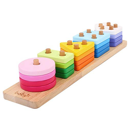 Boby Wooden Educational Toys, Bigger Geometric Stacking Board, Shapes and Color Sorting Recognition Toys, Montessori Sensory Toys for Toddlers 1 2 Years Girls' and Boys' Kids, Baby Preschool Learning