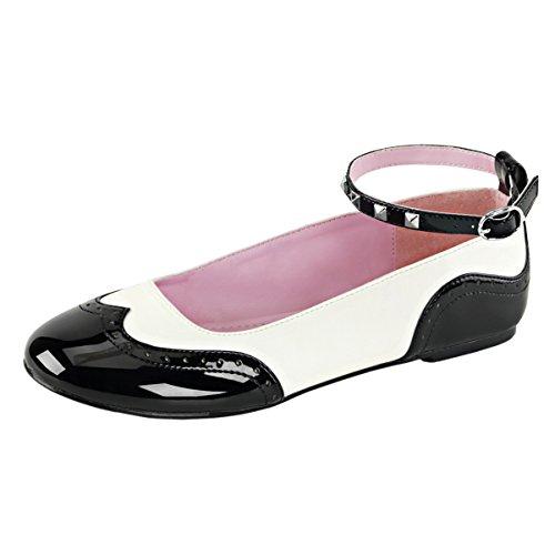 Summitfashions Scarpe Da Donna Nero E Bianco Cinturino Alla Caviglia Scarpe Da Sella Balletto Punta Rotonda