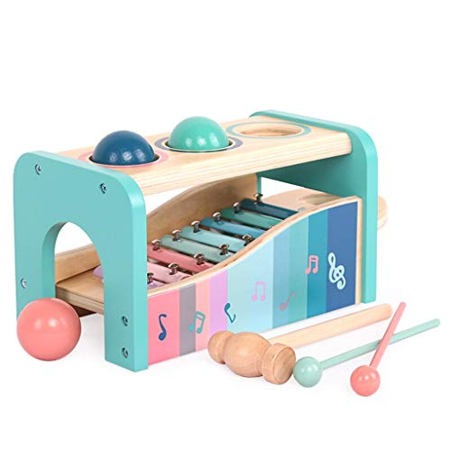 Fenfen-wj Three Balls Knocking Table - Infant Children Small Xylophone Baby Boys and Girls Wooden Music Impact Toys 1-3 Educational Toys, Multifunctional and Bright ()