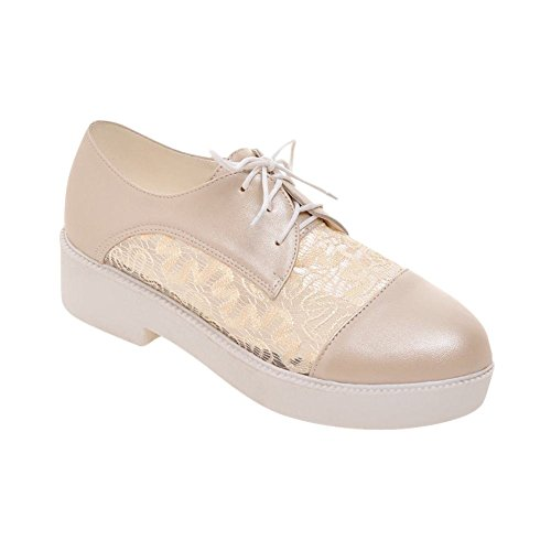 Carolbar Womens Sweet Cute Lace-up Fashion Kant Voile Mesh Zomer Mid Hak Oxfords Schoenen Beige Abrikoos