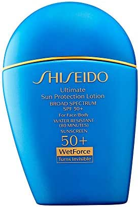 SHISEIDO Ultimate Sun Protection Lotion For Face/Body 50+ WetForce Turns Invisible Broad Spectrum SPF 50+ Full Size 50 mL / 1.6 FL. OZ. In Retail Box