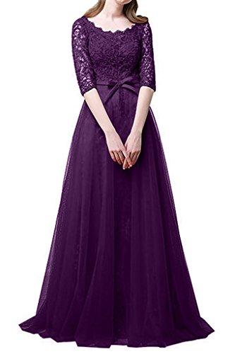 Traube mia Promkleider Abendkleider Abschlussballkleider Brautmutterkleider Spitze A Langarm Brau Hell Prinzess Linie La HSYUnxw77