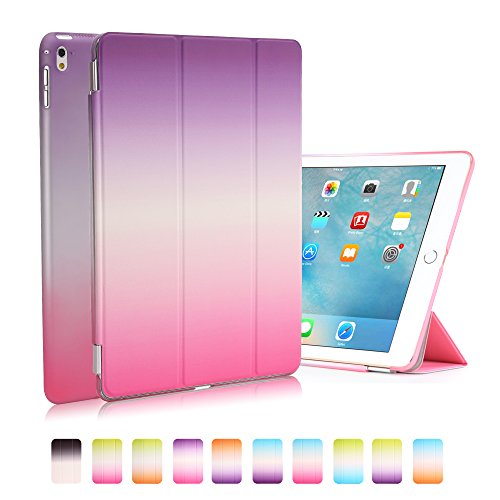iPad Pro 9.7 Case, Dowswin Smart Cover Ultra Thin Rainbow Series Protective PU Front Case Transparent PC Back Cover for Apple iPad 9.7 inch Tablet (Purple+Rose) (Tablet Pc Purple)