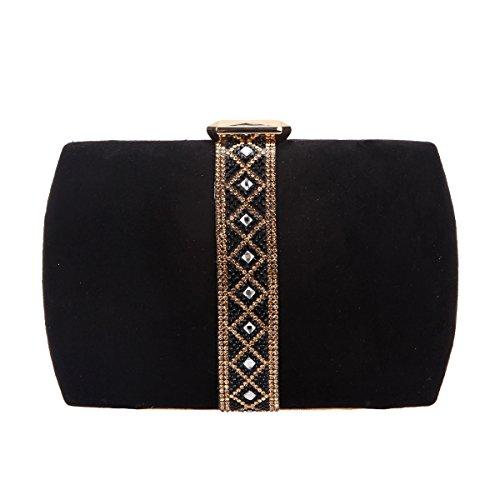 Fawziya Velvet Diamonds Evening Purses For Women Clutch Bags-Black