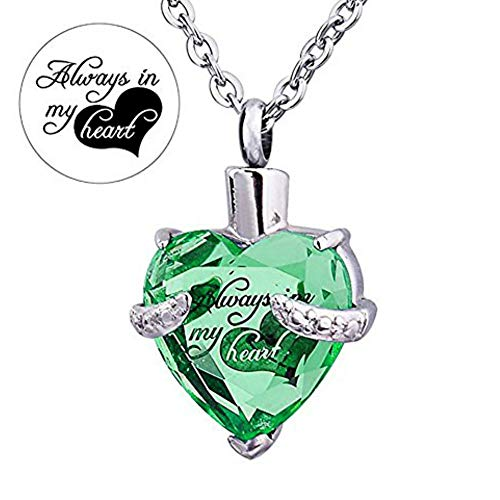 (Always in My Heart 12 Birthstone Crystal Urn Necklace Heart Memorial Keepsake Pendant Ash Holder Cremation Jewelry for Ashes (Aug.))