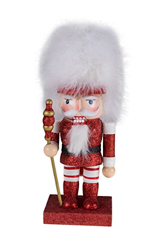 "Traditional Soldier Nutcracker by Clever Creations | Holding Scepter and Wearing White Fur Hat | Red and White Glitter | Perfect Addition to Any Collection | Holiday Decor | 100% Wood | 10"" Tall"