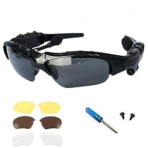 Bluetooth Sunglasses OldShark V4.1 Bluetooth Headphones Sports Sunglass with 3 Pair Lens(Brown+Yellow+Transparent)