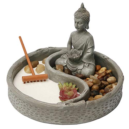 Nature's Mark, Mini Meditation Zen Garden, 6 x 6 Inches Round with Lotus, Buddha Figures and Natural River Rocks (Buddha 6 Inch Round) ()