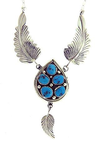 By Navajo Artist Margie Chee Gorgeous Handmade Sterling silver Turquoise Teardrop Cluster ()