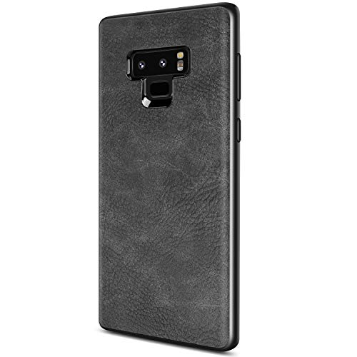 Samsung Galaxy Note 9 Case, Salawat Slim PU Leather Vintage Shockproof Phone Case Cover Lightweight Premium Soft TPU Bumper Hard PC Hybrid Protective Case for Samsung Galaxy Note 9 (Black)