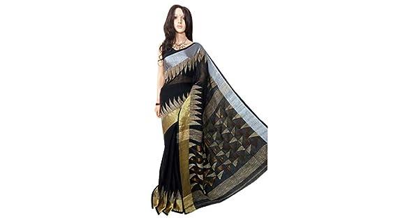 Amazon.com: Hermoso tradicional indio de lino puro Jamdani ...