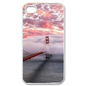 Jackalondon Golden Gate in Clouds San Francisco IPhone 4/4s Cases, Men Cool Iphone 4 Case Cheap {White}