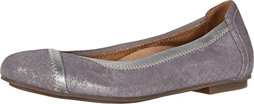 Vionic Women's Spark Caroll Ballet Flat - Ladies Dress Casual Shoes with Concealed Orthotic Arch Support Pewter 9.5 M US (Best Ballet Flats For Travel)