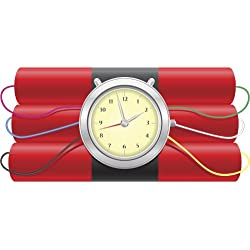 EXPLOSIVE DYNAMITE BOMB WITH CLOCK TICKING TIME BOMB RED BLACK GREY YELLOW PINK BLUE BLACK GREEN RED WHITE Vinyl Decal Sticker Two in One Pack (12 Inches Wide)
