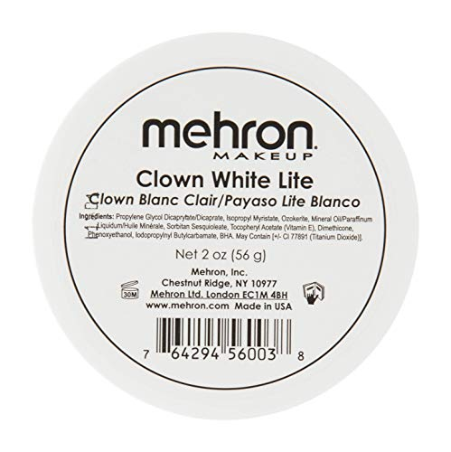 Mehron Makeup Clown White Lite Professional Makeup (2 (Half Skull Makeup)
