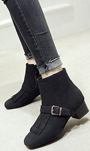 Comfortabele Midi-neuslaarzen Met Middenrif Van Idifu Voor Dames Met Rits Zwart