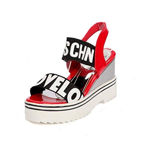 VogueZone009 Women's Pull On High Heels PU Solid Open Toe Sandals Red