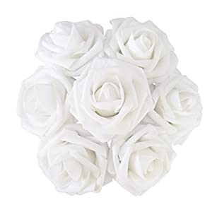 J-Rijzen Jing-Rise Artificial Flowers Real Looking Fake Roses with Stem for DIY Wedding Bouquets Centerpieces Party Baby Shower Home Decorations (White, 30pcs Standard) 35