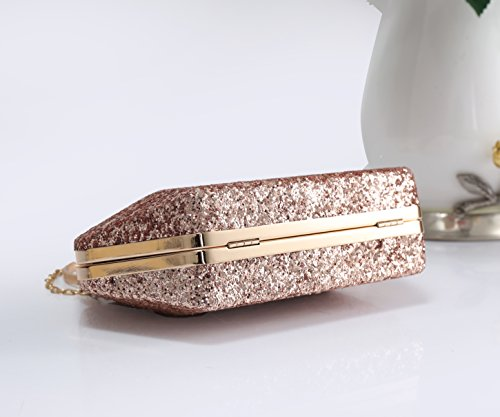 Redfox Crystals Wedding Women's Size Diamante Bag Sparkling Clutch Shape Evening 36 Gold And Different Rose Shiny Rose Gold Rhinestones 1f1nxqwrv