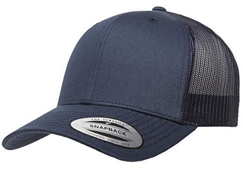 Retro Mesh Hat - Yupoong Retro Trucker Snapback Cap | Mesh Back, Adjustable Ballcap w/Hat Liner (Navy)