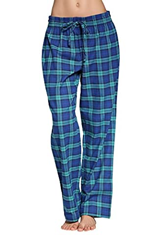 CYZ Women's 100% Cotton Super Soft Flannel Plaid Pajama/Louge Pants-F17001-L - Flannel Pajama Pants Sleepwear