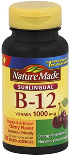 Nature Made B-12 1000 mcg Micro-Lozenges Cherry Flavor 50 ea (Pack of 2)