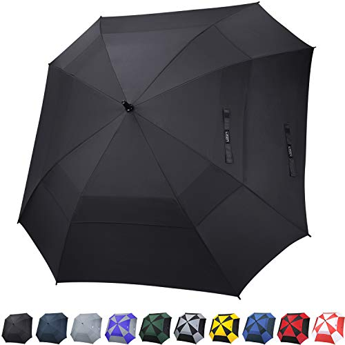 G4Free Extra Large Golf Umbrella Double Canopy Vented Square Umbrella Windproof Automatic Open 62 Inch Oversize Stick Umbrella for Men ()