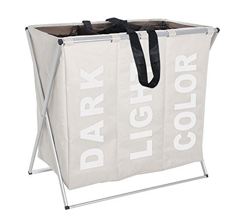Folding Laundry Washing Basket Bag 3 Section Foldable Fabric Laundry Hamper Sorter 130 L Capacity Polyester 63 x 57 x 38cm - [Material]: Folding laundry basket with Polyester Collector ,Handbag and aluminium handle.It is very durable and convenience for you to move it wherever you want and move it into the balcony, bathroom, living room, bedroom or laundry room. [Capacity]: Foldable Washing Basket has 3 Laundry Compartments,each Compartments is 43 litres. 130 L is enough for your family [Sturdy& Durable]: sturdy aluminium handle and durable poly bags can hold up to 45 lbs load, 15 lbs per bag - laundry-room, hampers-baskets, entryway-laundry-room - 41CYVmbWo6L -