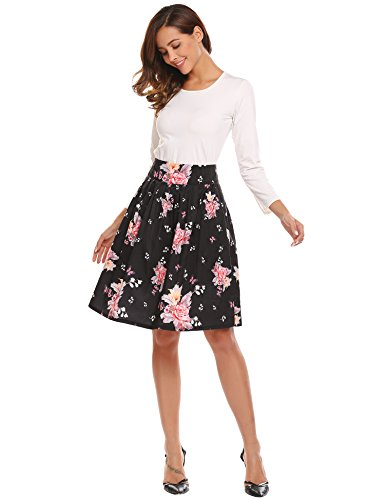 Midi A-line Pleated Floral Skirt, Women's Flare Flower Print Vintage High Waist Knee Length Flowy Skirts for Girls Black - Satin Skirt Flare
