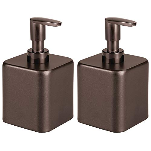 mDesign Compact Square Metal Refillable Liquid Soap Dispenser Pump Bottle for Bathroom Vanity Countertop, Kitchen Sink - Holds Hand Soap, Dish Soap, Hand Sanitizer, Essential Oil - 2 Pack - Bronze