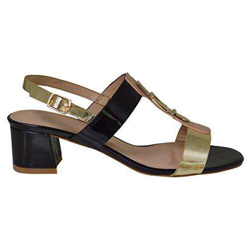 Heel Summer Block Black Bar Slingback T Sandal Tone Ladies Two 0wUxq1qZ
