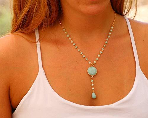 Dainty Rosary Necklace for Women inlaid with Amazonite & Jade Gemstone made of Gold Plated Brass, Handmade Designer Jewelry Bridesmaid & Birthday Gift - Jade Womens Charm