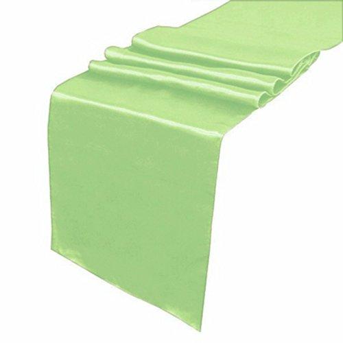 "OurWarm Light Green Apple Green Satin Table Runner 12""x 108"" (Inch) Wedding P..."
