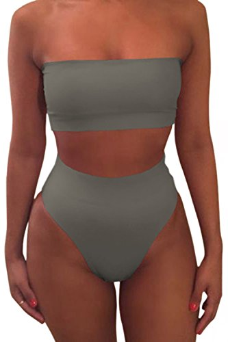 - Pink Queen Women's Strapless No Pad High Waist Bikini Set Swimsuit Grey2 S