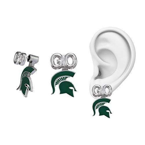 Sandol Michigan State Peek-a-Boo Earrings -