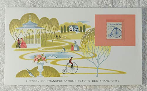 Ordinary (Bicycle) - Postage Stamp (United States, 1982) & Art Panel - The History of Transportation - Franklin Mint (Limited Edition, 1986) - Highwheeler, Penny Farthing, High Bicycle