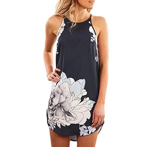 Emimarol Women's Dress Ladies Sleeveless Suspender Dress Comfy Casual Floral Print Mini Dress Black