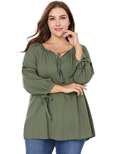 Agnes Orinda Women's Plus Size Raglan Sleeve Hollow Out Tie Neck Tunic Top 3X Green (Plus Blouse Peasant Size)